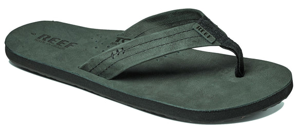 Reef Mens 'Draftsmen' Bottle Opener Leather Flip Flops - Dark Grey