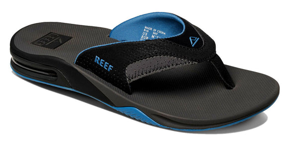 Reef Mens 'Fanning' Bottle Opener Flip Flops - Grey / Light Blue