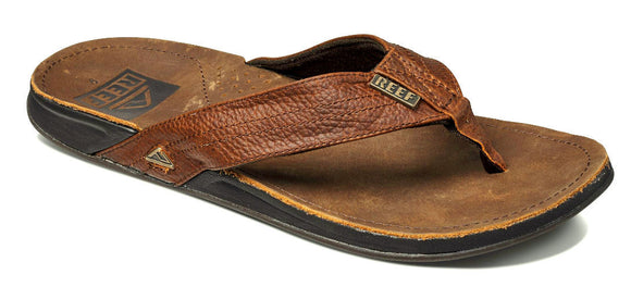 Reef Mens 'J-Bay 3' Leather Flip Flops - Camel