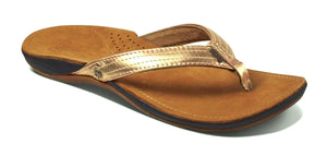 Reef Womens 'Miss J-Bay' Leather Flip Flops - Rose Gold