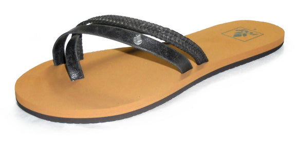 Reef Womens 'O'Contrare' Flip Flops - Black / Tan