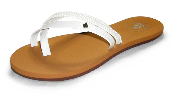 Reef Womens 'O'Contrare ' Flip Flops - White / Tan