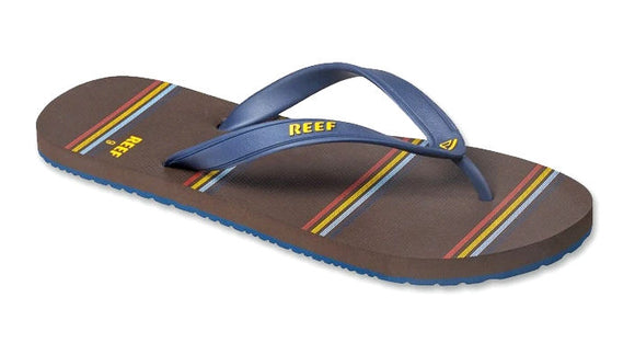 Reef Mens 'Switchfoot Prints' Flip Flops - Navy / Brown Stripe