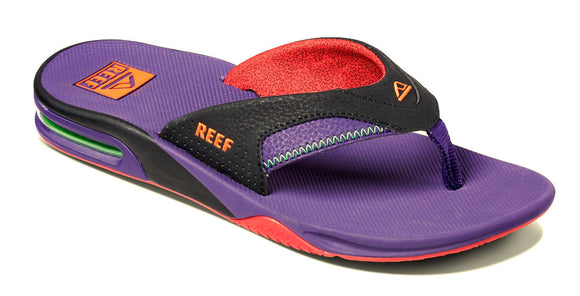 Reef Unisex 'Fanning' Bottle Opener Flip Flops - Black / Purple
