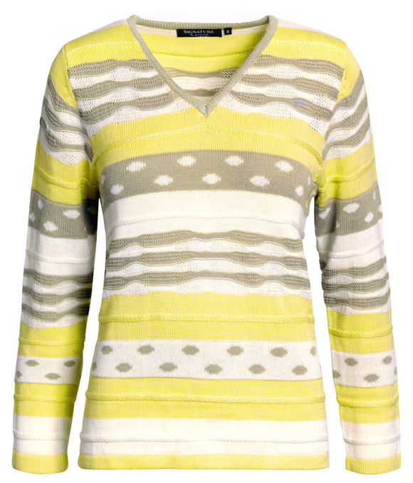 Signature Womens Spots and Stripes Jumper - Yellow / Grey / White
