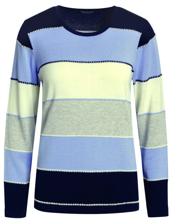 Signature Womens Striped Jumper - Navy / Blue / White / Grey