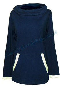 Stonewashed Clothing Womens 'SW5' Cowl Neck Top / Tee - Navy