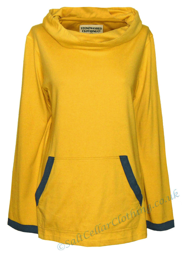Stonewashed Clothing Womens 'SW5' Cowl Neck Top / Tee - Yellow