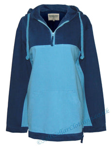 Stonewashed Clothing 'SW23' Hooded Smock - Sky Blue / Navy