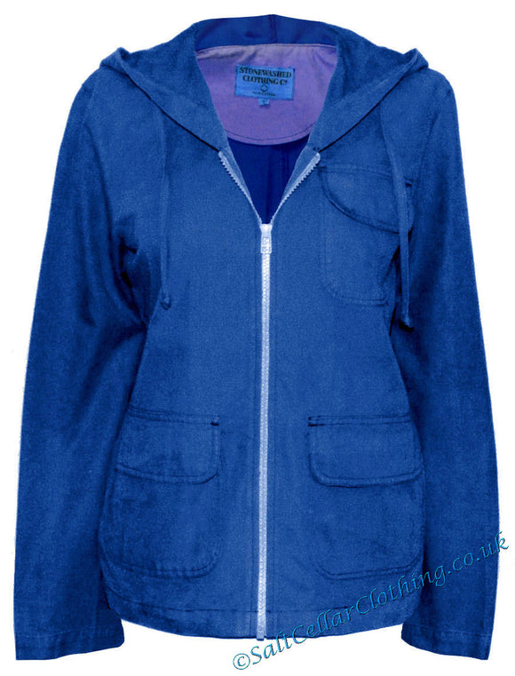 Stonewashed Clothing Womens SW11 Hooded Jacket - Blue