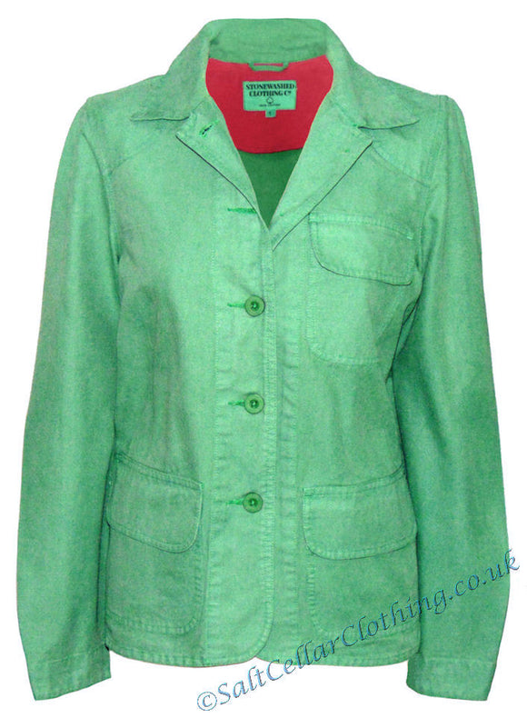 Stonewashed Clothing Womens SW12 Button Jacket - Beryl Green