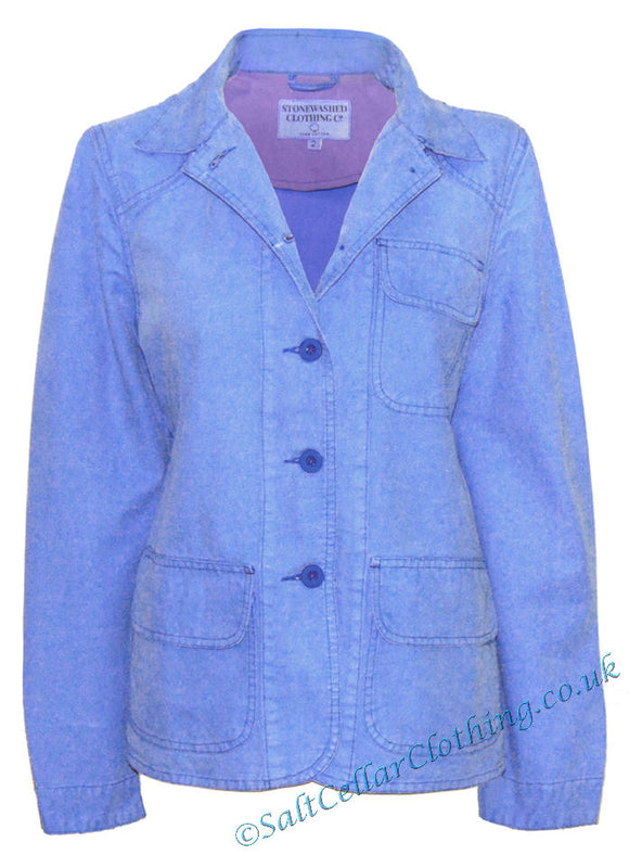 Stonewashed Clothing Womens SW12 Button Jacket - Blue
