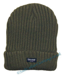 Thinsulate Mens Knitted Fleece Lined 'Danny' Beanie Hat - Khaki