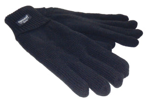 Thinsulate Mens Knitted Fleece Lined 'Max' Gloves - Black
