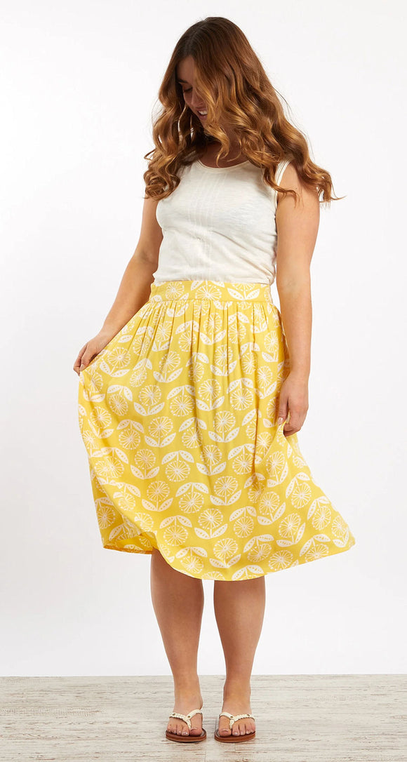Weird Fish Womens 'Bonnie' Floral Print Midi Skirt - Sunshine Yellow