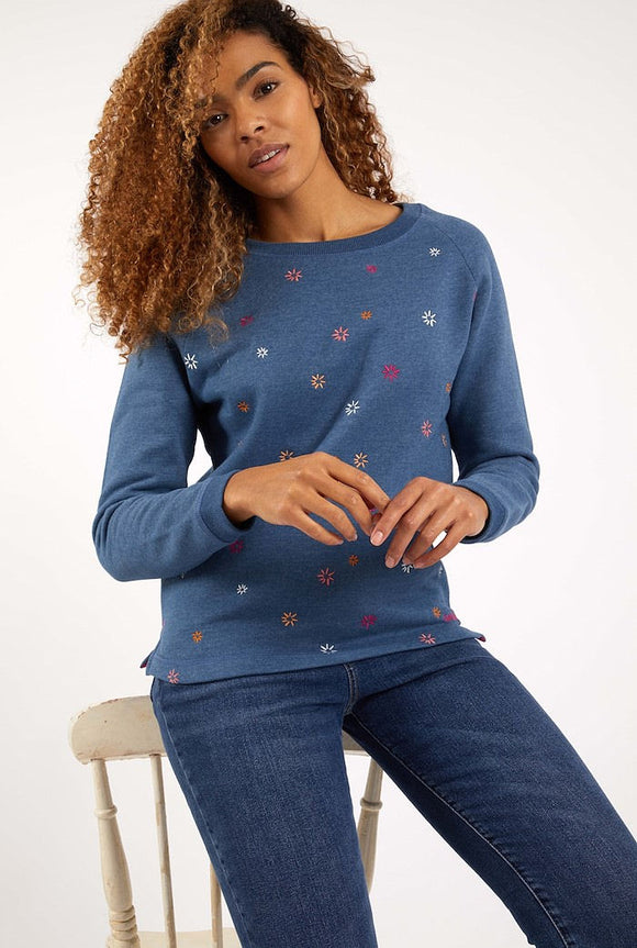 Weird Fish Womens 'Angra' Embroidered Crew Neck Sweatshirt - Ensign Blue