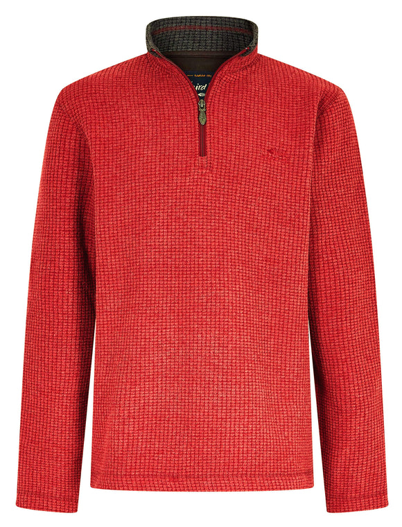 Weird Fish Mens 'Newark' 1/4 Zip Grid Fleece - Chilli Pepper Red