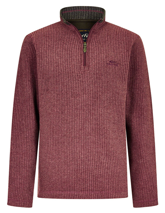 Weird Fish Mens 'Newark' 1/4 Zip Grid Fleece - Plum