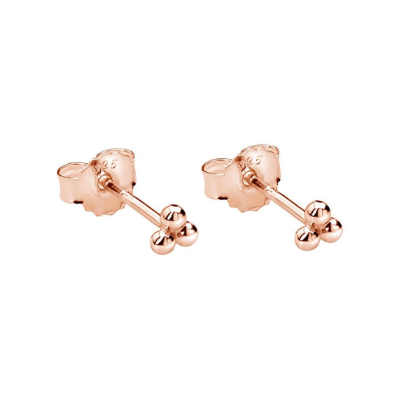 Trinity Ball Stud Earrings Rose Gold Plate
