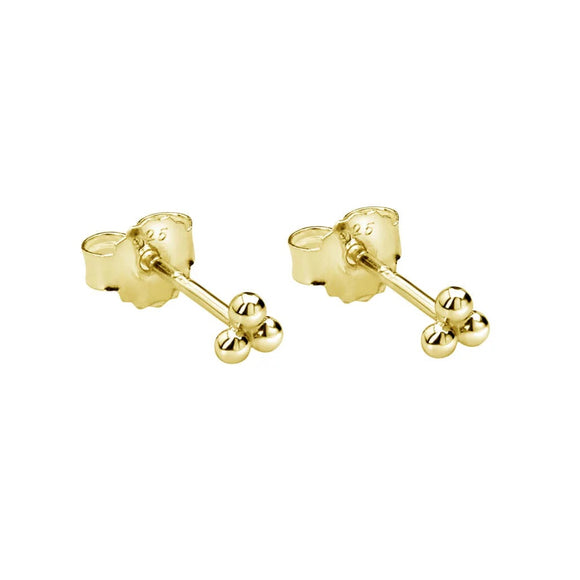 Trinity Ball Stud Earrings Yellow Gold Plate