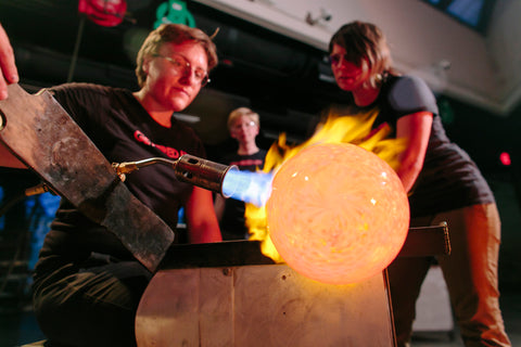 Glassblowing at the Perry Glass Studio. Photo by Echard Wheeler.