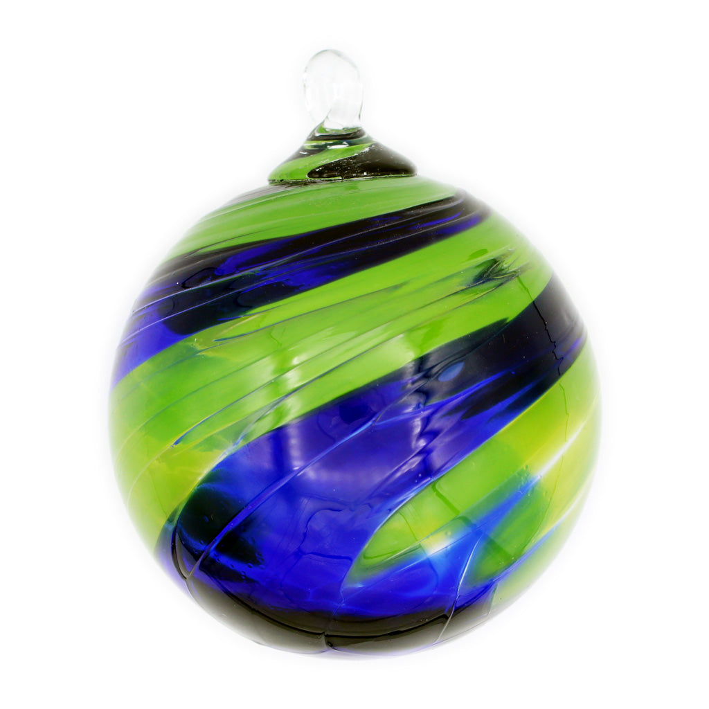 Sunday Blues Blown Glass Ornament