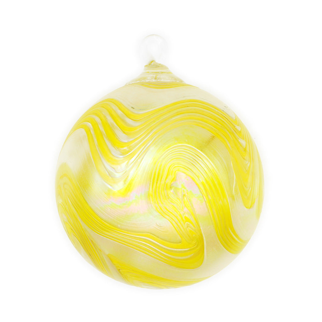 Daisy Swirl Blown Glass Ornament