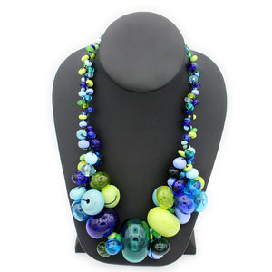 Blue & Green Cluster Necklace