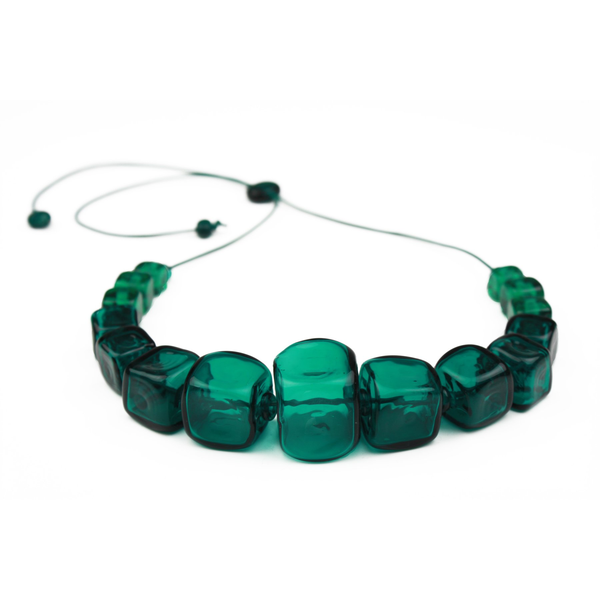Teal Cube Necklace