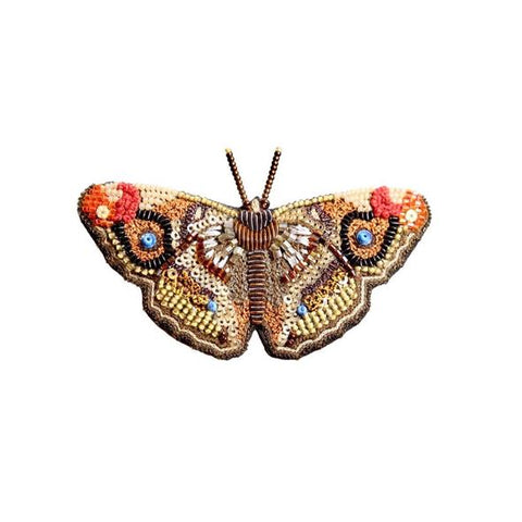 Apatura Iris Butterfly Embroidered Brooch