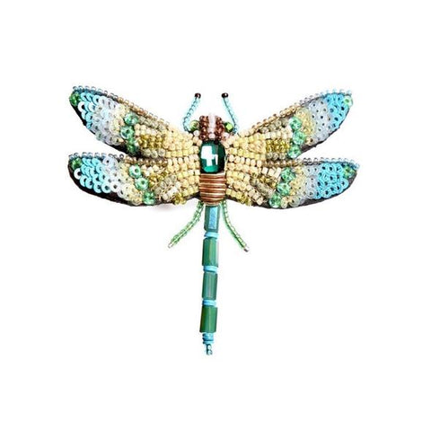 Aqua Dragonfly Embroidered Brooch