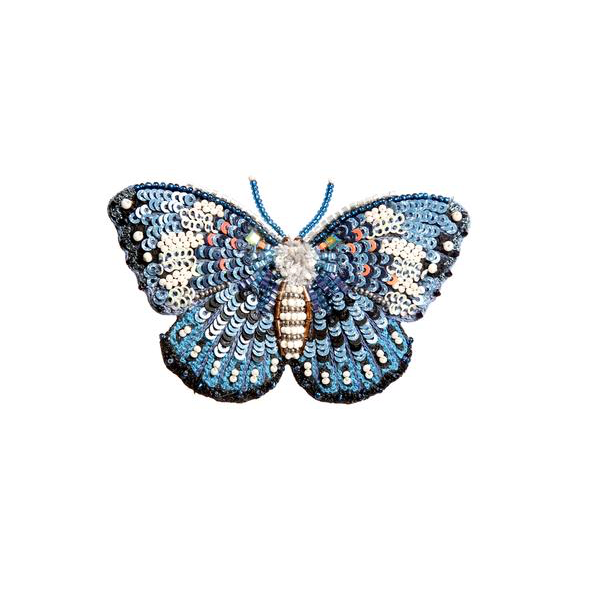 Blue Cracker Butterfly Embroidered Brooch
