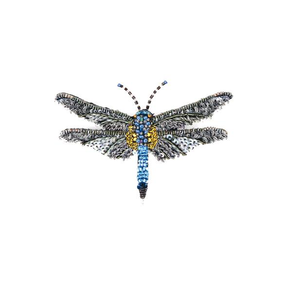 Blue Dasher Dragonfly Embroidered Brooch