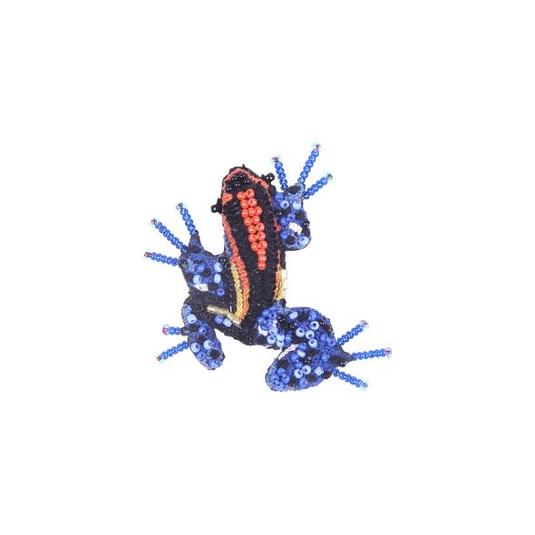 Blue Poison Dart Frog Embroidered Brooch