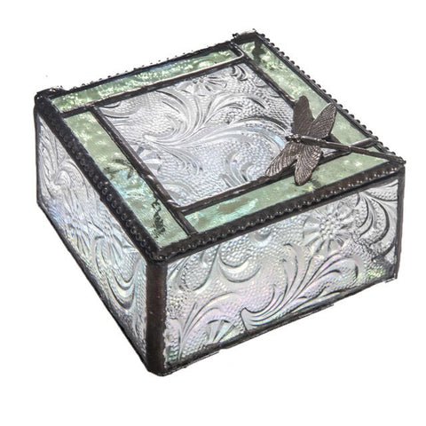 Stained Glass Jewelry Box: Green Dragonfly