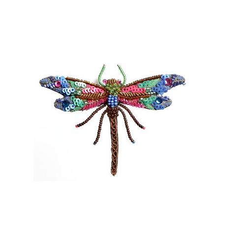 Braid Dragonfly Embroidered Brooch