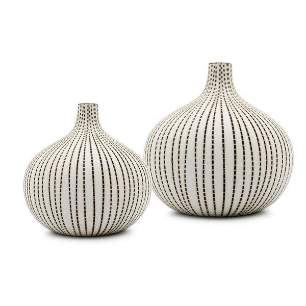Tiny Congo Vases: White with Brown Dots