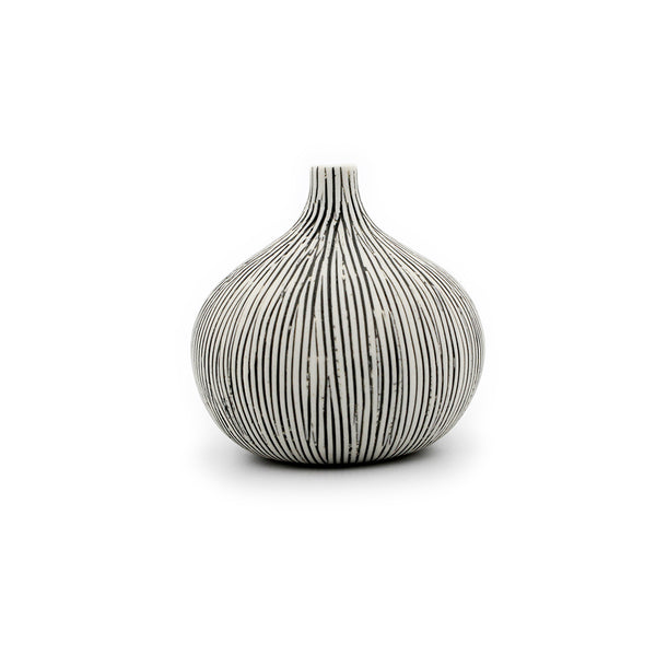 Tiny Congo Vases: White with Vertical Lines