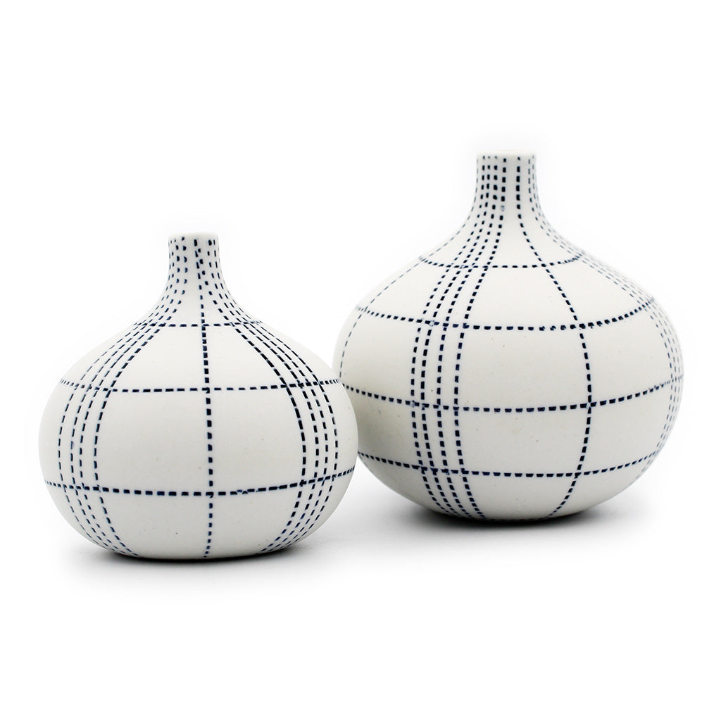 Tiny Congo Vases: White with Blue Dots