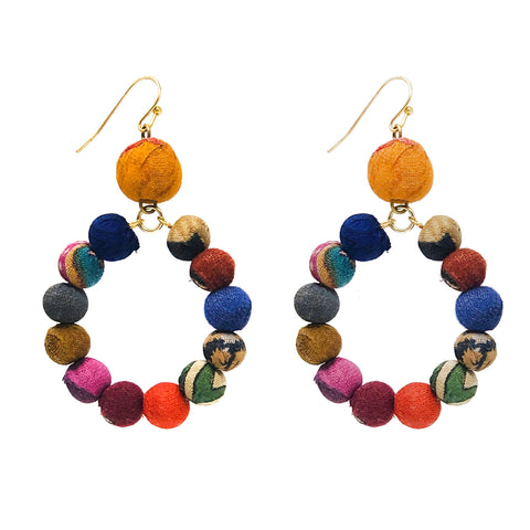 Dangling Kantha Hoop Earrings