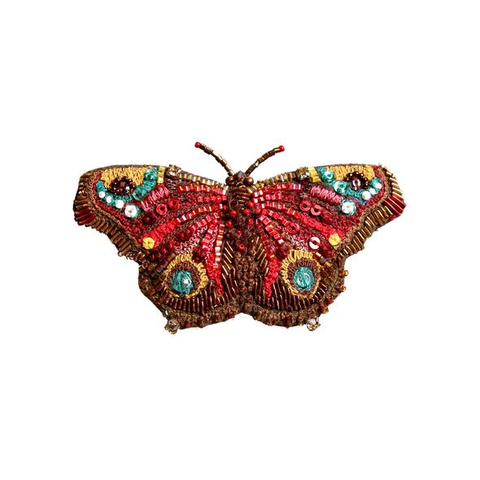 European Peacock Butterfly Embroidered Brooch