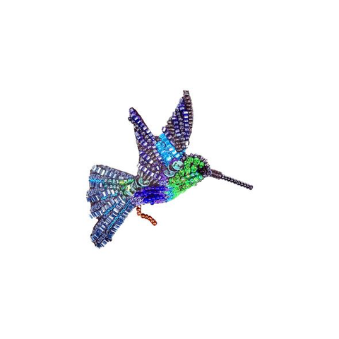 Green Crowned Woodnymph Hummingbird Embroidered Brooch