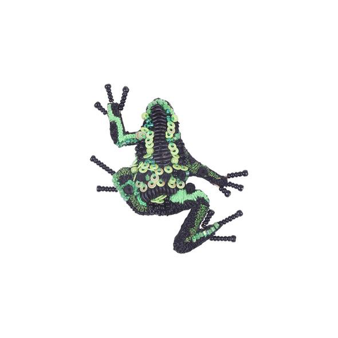 Green Poison Dart Frog Embroidered Brooch