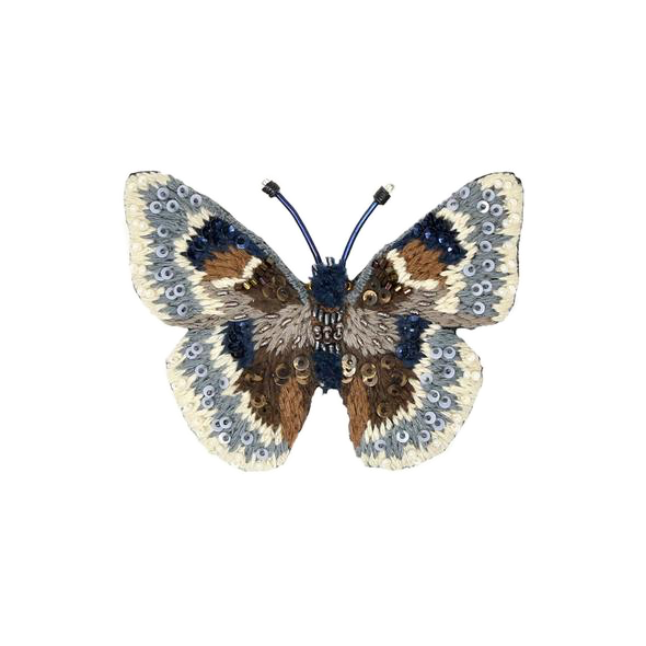 Grizzled Skipper Butterfly Embroidered Brooch