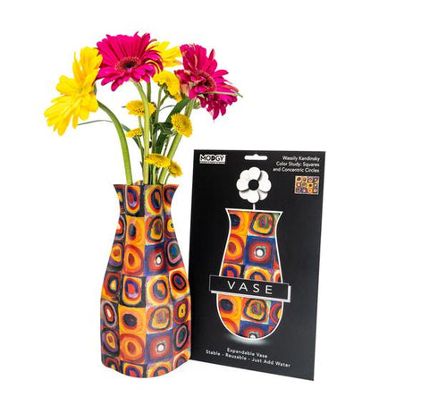 "Kandinsky ""Squares and Concentric Circles"" Expandable Vase"