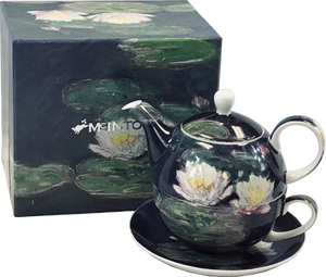 "Claude Monet ""Water Lilies"" Tea-for-One cup & saucer, teapot, and gift box"