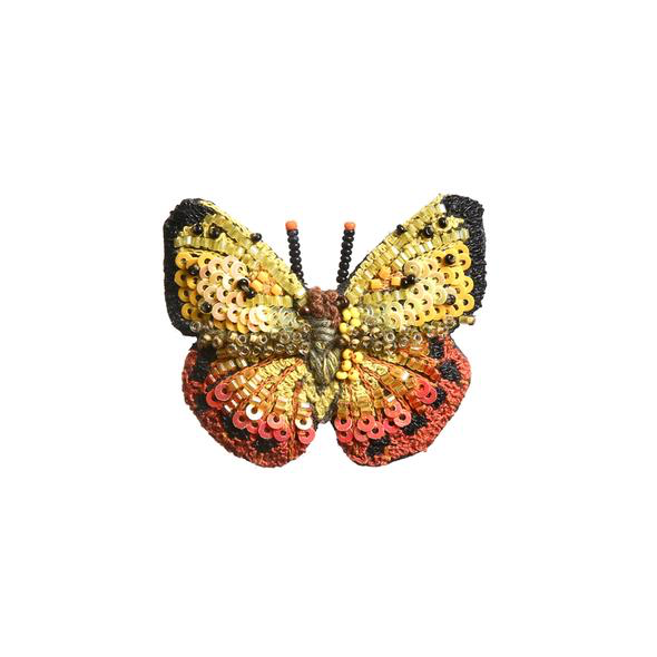 Orange Barred Butterfly Embroidered Brooch