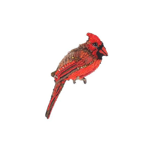 Red Cardinal Embroidered Brooch