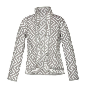 Reversible Ruffle Jacket, Stone Labyrinth