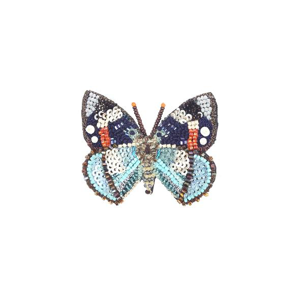 Schrenck's Emperor Butterfly Embroidered Brooch